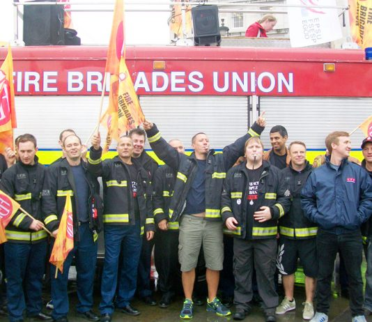 Firefighters demonstrate in central London in July against the attack on pensions