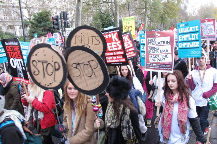 Young people marching in central London demanding the restoration of the Education Maintenance Allowance (EMA)