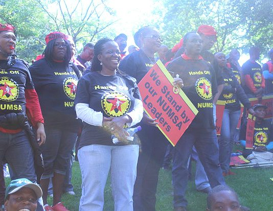 NUMSA members show their support for their leadership lobbying the COSATU executive meeting in April