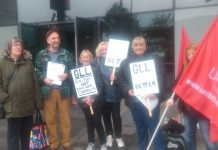 Greeenwich Library strikers on the picket line in Woolwich during their strike on October 14