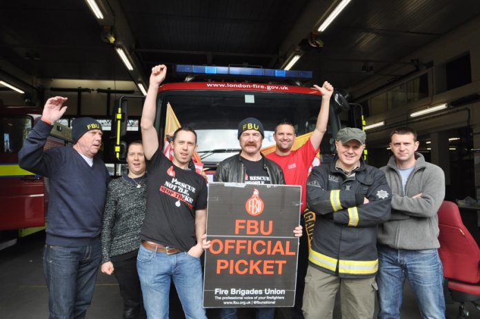 FBU pickets at Chelsea fire station on Saturday morning were getting plenty of support from passers-by