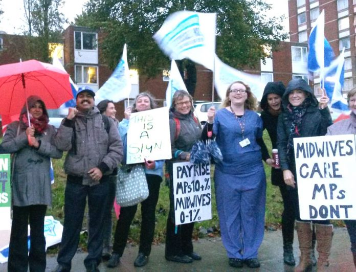 Midwives on the picket line at Ealing Hospital in west London during the October 13 strike
