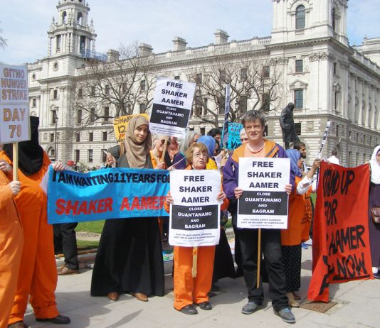 Protest outside parliament demanding the release of Shaker Aamer from detention in Guantanamo Bay prison