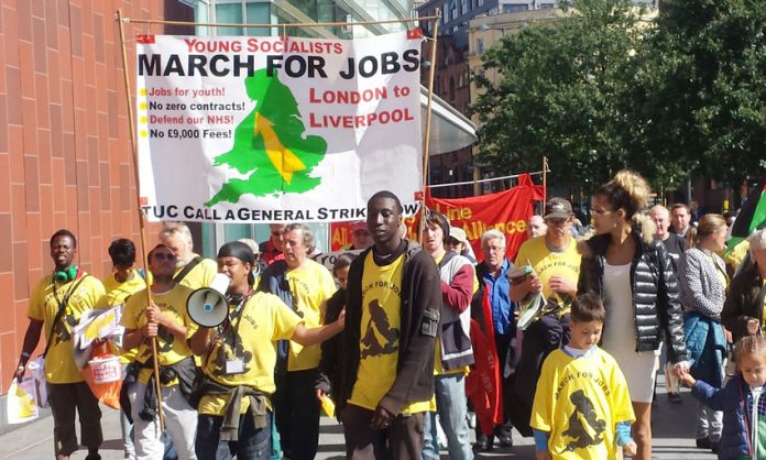 The Young Socialists marched from London to the TUC Congress to demand action to secure real jobs at trade union rates of pay for youth