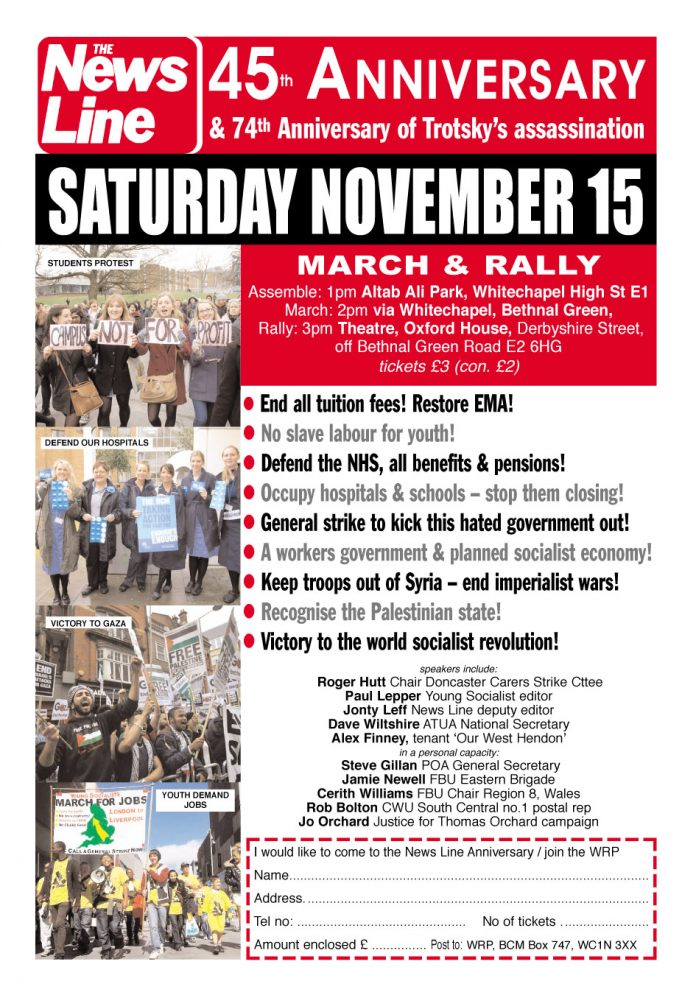 Come to the News Line Anniversary Rally – Today!