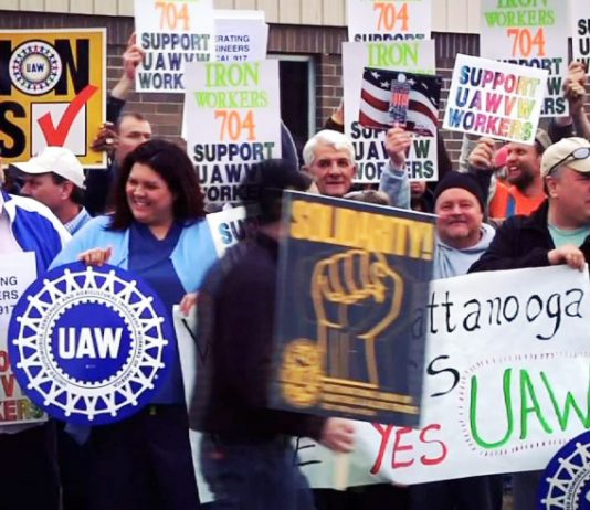 Iron workers supporting the Chattanooga VW workers campaign for UAW union recognition