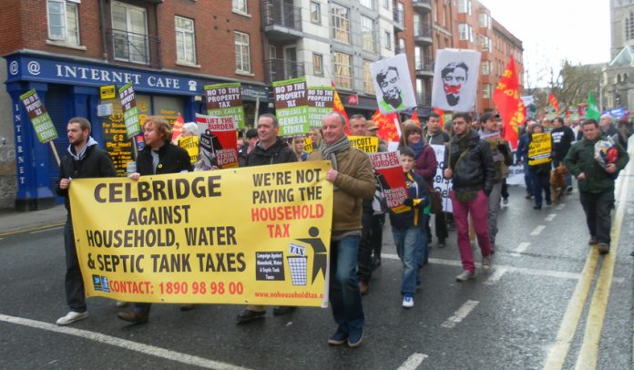 Irish workers opposing the increased taxation on households, water and septic tanks