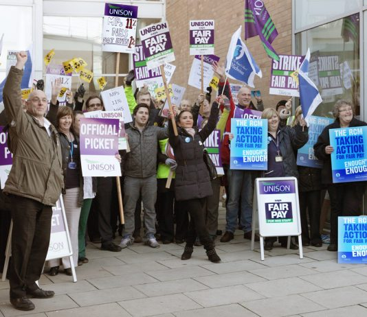 Pickets out in force at the Norfolk & Norwich Hospital