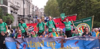 NUT members on the TUC demonstration demanding a pay rise for public sector workers last month