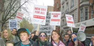 Angry tenants marching to Downing Street determined to stop the New Era Estate evictions