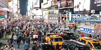 'Hands Up Don't Shoot' protest in New York's Times Square in solidarity with Ferguson, Missouri where Michael Brown was shot