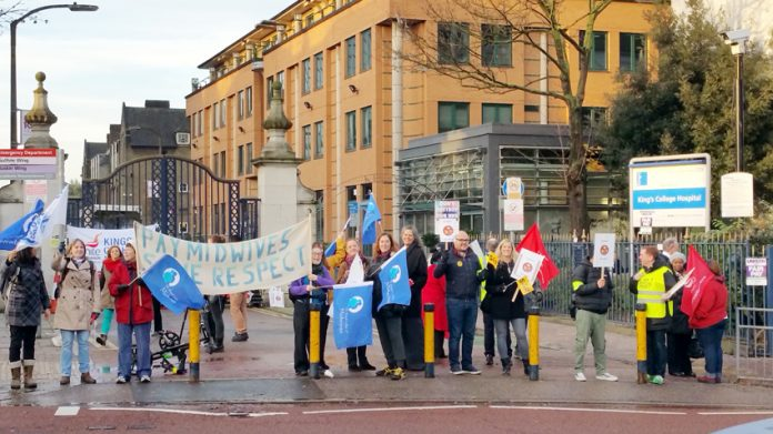 Midwives and nurses taking strike action last month – they are not prepared to put up with permanent wage-cutting and pension busting