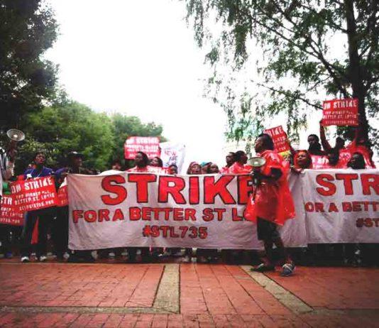 Striking fast food workers  demanding $15 an hour in St Louis