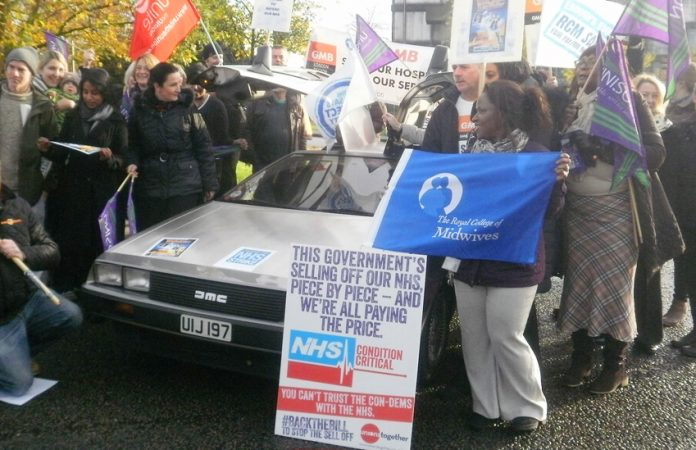 NHS strikers at Northwick Park Hospital in Harrow opposing the sell-off of NHS services