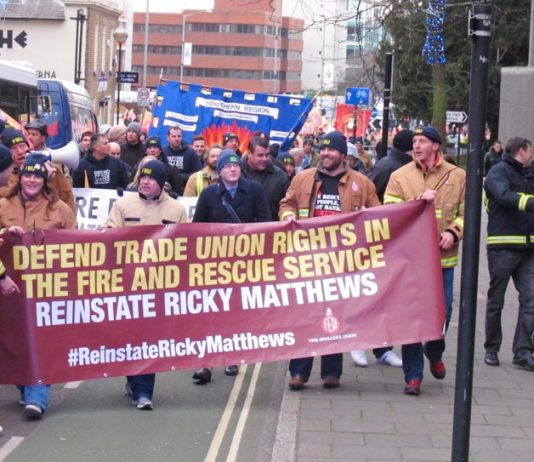 The front of the march in Aylesbury demanding the reinstatement of FBU member Ricky Matthews