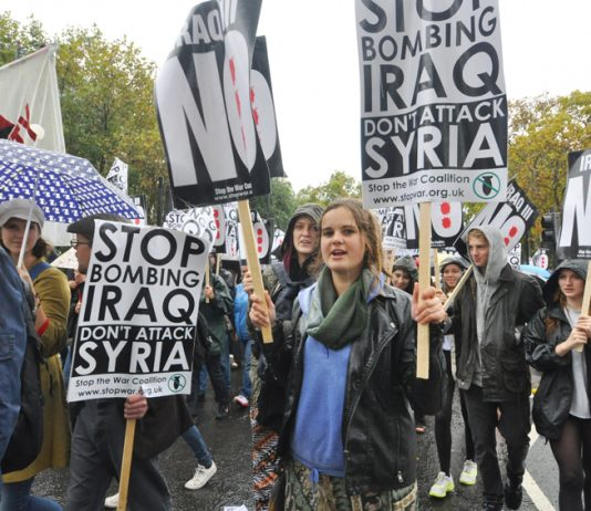 Youth on a 'Stop bombing Iraq, don't attack Syria' demonstration in London in October