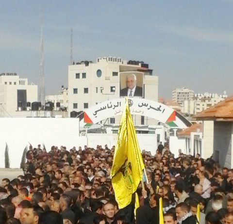 Crowds gather in Ramallah for the funeral of murdered Palestinian Minister Ziad Abu Ein
