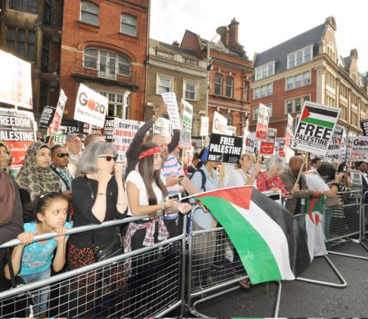 Demonstration outside the Israeli embassy in London on August 1st demanding an end to Israel's bombing of Gaza