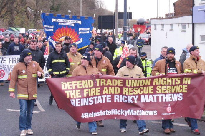 Firefighters marching through Aylesbury demanding the reinstatement of sacked colleague Ricky Matthews – after Maude's statement they know that the biggest battle is directly ahead to stop the privatisation of the fire service and all public services