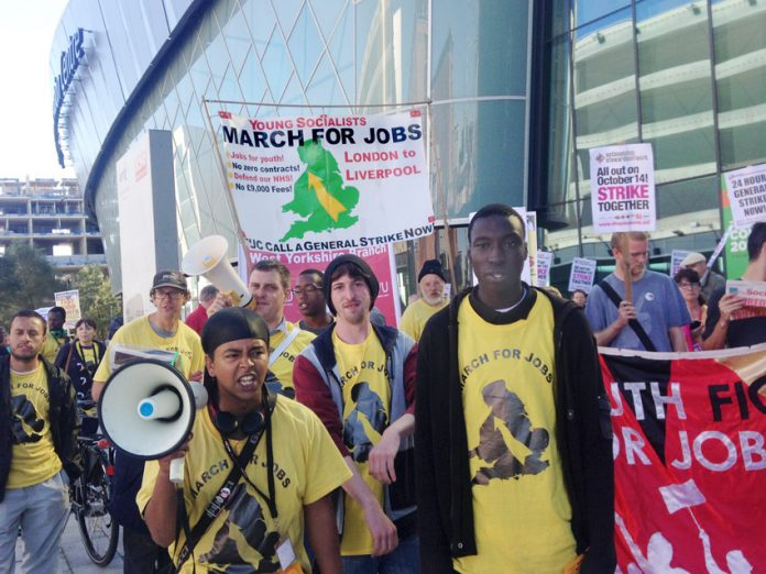 Young Socialists marchers arrive at the TUC Congress in Liverpool demanding decent well-paid jobs for youth