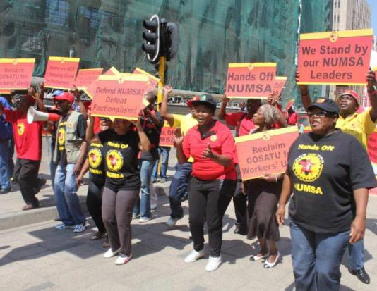 NUMSA members demonstrate against their expulsion from the Congress of South African Trade Unions