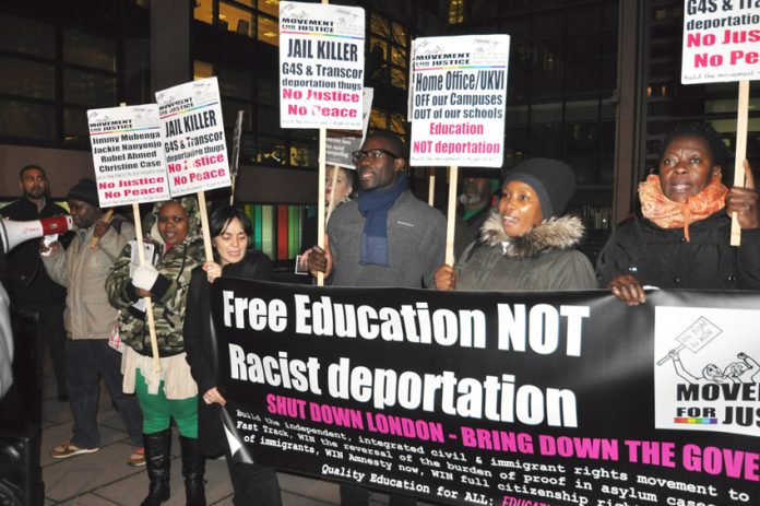 Demonstrators outside the Home Office demanding the prosecution of G4S after the death of Jimmy Mubenga