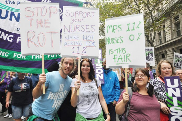 Nurses demonstrating on the last TUC march on October 18th