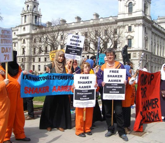 Protest in central London demanding the immediate release of Shaker Aamer who has been held in Guantanamo Bay for 13 years and that the prison be shut