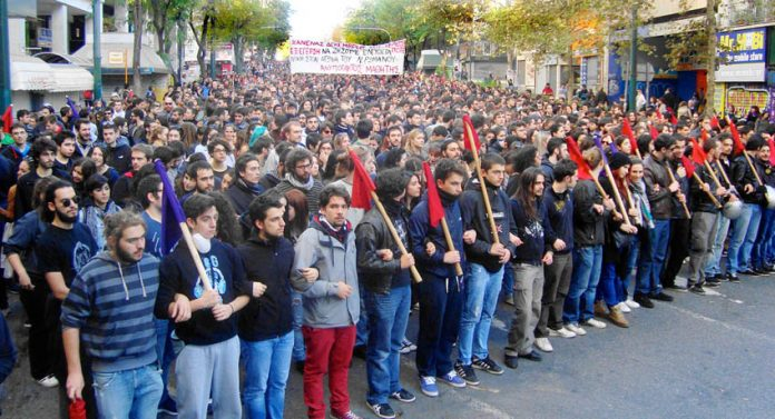 School students marching in Athens on the 6th anniversary of the police shooting of 15-year-old Alexis Grigoropoulis on 6th December 2008