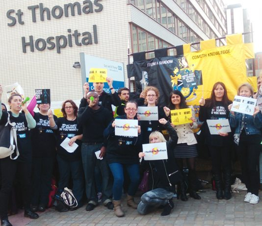 Radiographers on strike at St Thomas' Hospital on October 20 – Pathology staff at the hospital are out today