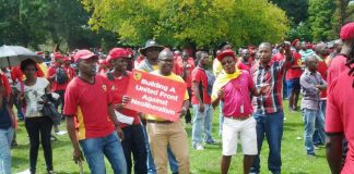 NUMSA rally against Neoliberalism – the South African Communist Party criticised NUMSA's campaign against the South African government's 'Neoliberal' National Development Plan