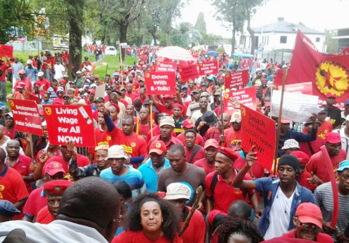 NUMSA campaign against e-tolls (electronic toll collection on toll roads) on the 'March for Youth Jobs'  – the South African Communist Party attacked the NUMSA campaign