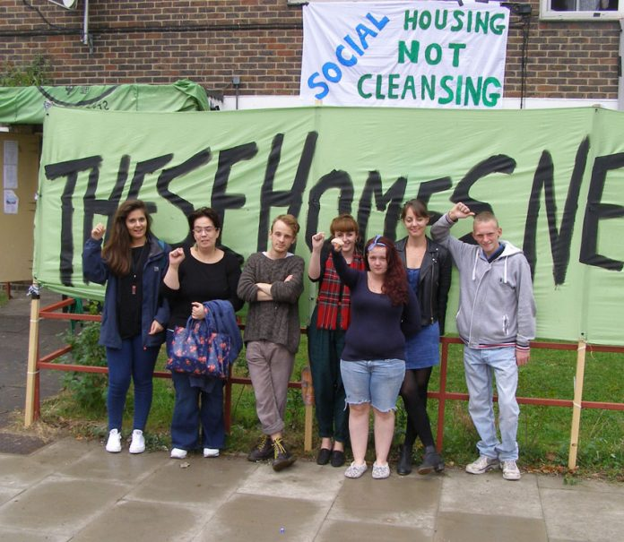 Members of the E15 Focus Group occupying an empty property in East London demanding council housing not evictions