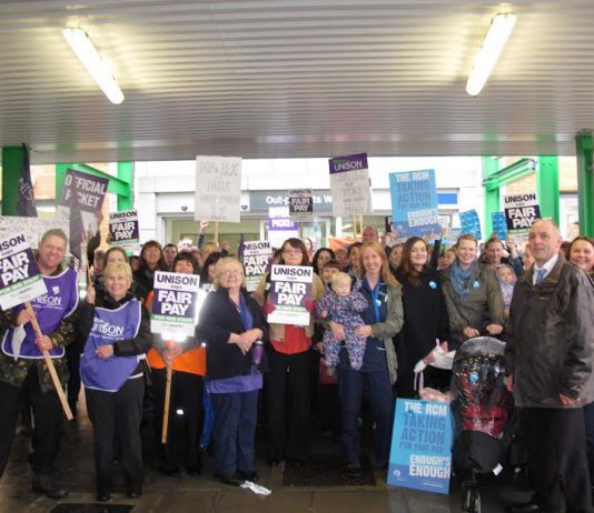 Mass picket of hospital workers in Norwich on the national NHS strike over pay on October 13