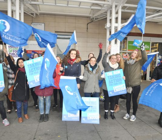 Midwives on the picket line at Chelsea and Westminster Hospital on November 24 – they will be joining other health unions striking on January 29th