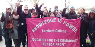 Lambeth College lecturers on yesterday's picket line at the Clapham campus. They are out on strike again today, and are preparing for their indefinite strike