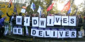 Midwives with their message as hundreds turned out for the picket at Northwick Park Hospital in Harrow