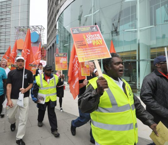 Unite busworkers marching in central London in September at the launch of their 'Driving Up Pay' campaign