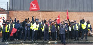 A huge and enthusiastic picket line at Peckham Bus Garage full of determination to win £31,000 a year for every bus driver