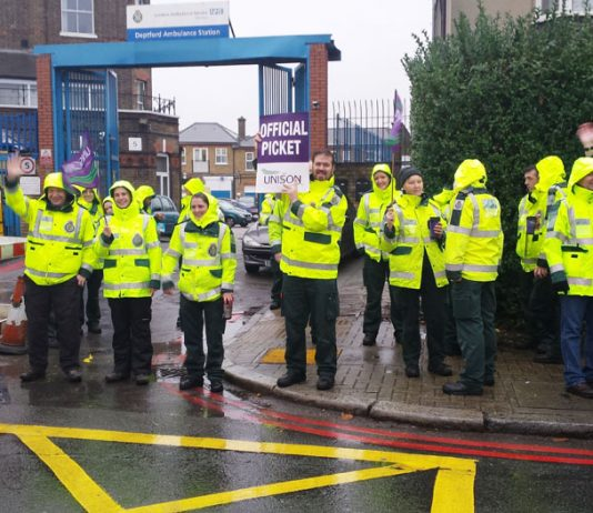 Ambulance staff taking strike action at Deptford Ambulance Station were concerned at the way cuts were affecting the service