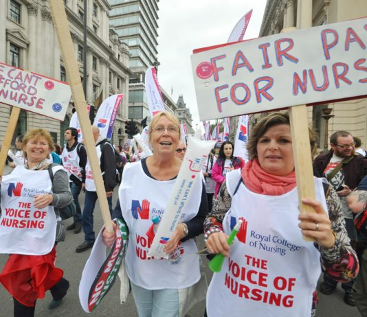 Nurses on the October TUC demonstration demanding fair pay and more staff