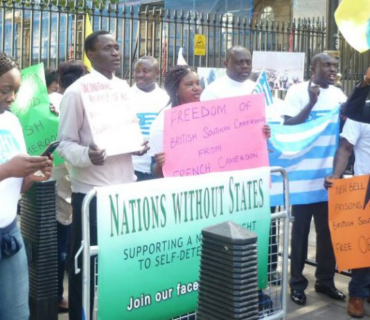 Southern Cameroons National Council demonstration at Downing Street on October 1