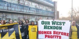 A section of 'Our West Hendon' tenants and supporters determined to defend their rights