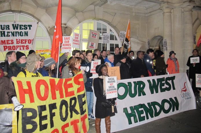 Mass lobby of Hendon Town Hall demanding that their council homes are not sold off to the private sector, where rents will go through the roof