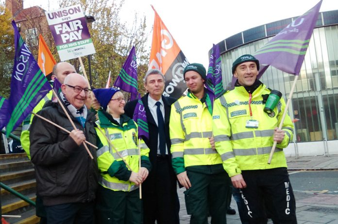 Unison leader PRENTIS on the picket line during last year's NHS strike