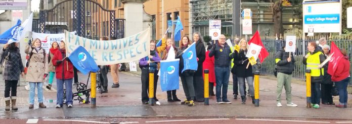 Midwives, nurses and other NHS staff on the picket line at King's College Hospital during the NHS strike on November 24th