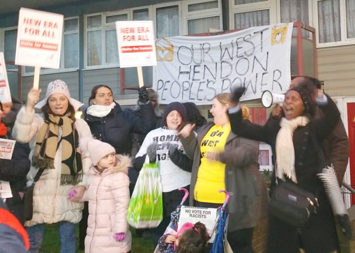 Young mothers from the New Era estate in east London and the E15 Campaign Stratford join tenants fighting eviction in West Hendon