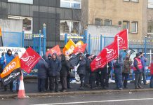 Unite and GMB pickets outside the Royal Hospital in Belfast yesterday morning