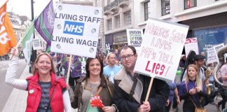 NHS workers on last October's TUC demonstration demanding a 'Living Wage' and no NHS cuts