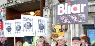 Protesters outside the Chilcot Inquiry in central London